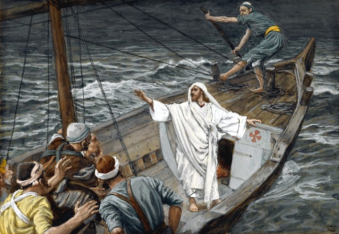 Isus smiruje oluju - James Tissot